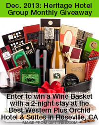 image of heritage hotel group monthly giveaway prize: wine gift basket