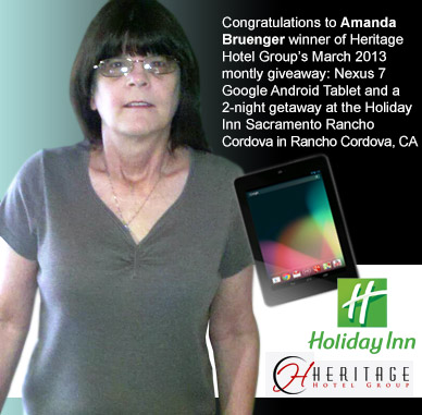 Amanda Bruenger winner of Heritage Hotel Group's monthly giveaway