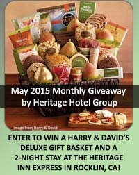 monthly giveaway  rocklin ca hotel stay with gift basket