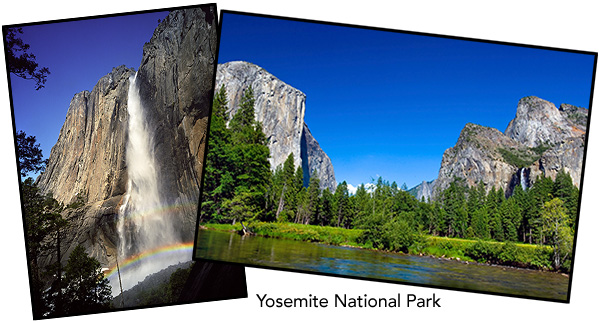 Image of Yosemite waterfall and half dome