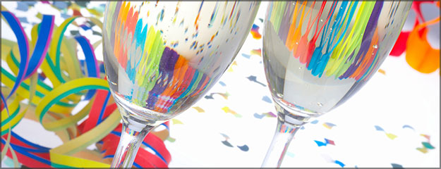 Heritage Hotel group event facility - confetti wine glass