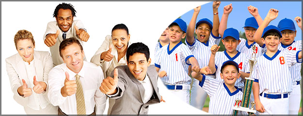 Image of corporate and baseball team for group discounted rates with california hotels