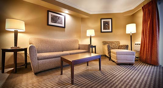 Sleeper Sofa and living area in Best Western Plus Santa Rosa