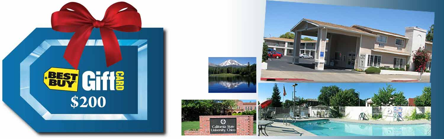monthly giveaway best buy gift card and hotel in chico ca
