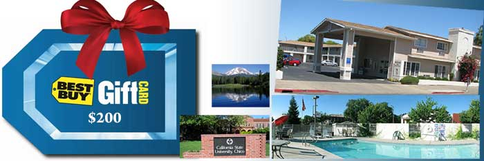 monthly giveaway by heritage hotel group - chico ca hotel stay and $200 gift card
